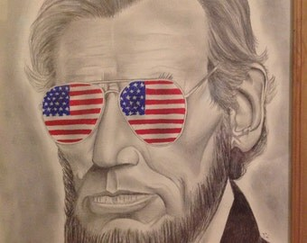 Abe Lincoln In Aviators-original drawing