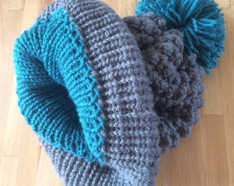Grey Knitted Woollen Hat, with Teal Pom-pom and Lining