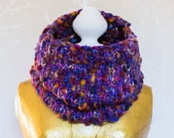 Lottie handknitted snood in 'dusk purple'