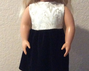 """Elegant Black Velvet Party Dress for 18"""" American Girl Doll"""