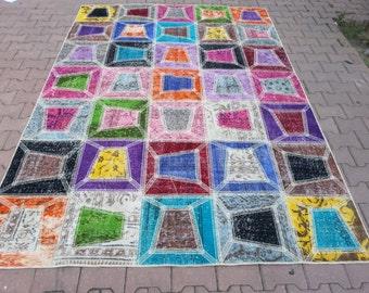 8.9'' x 6.2'' Vintage Rug Collage.  Multicolor - Color Palette.Vintage Patchwork Rug . Patchwork Carpet , Multicolor Carpet