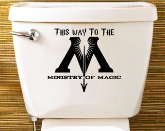 Harry Potter Inspired Toilet Sticker / Vinyl Decal  'This Way To The Ministry Of Magic'