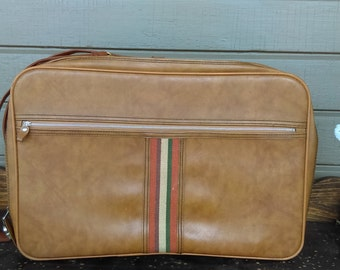 Vintage Imitation Leather Carry On Suitcase with Stripe