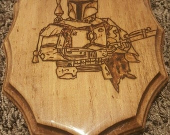 Star Wars Boba Fett wood burned plaque