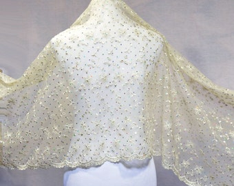 Bridal cape, Rhinestones capes, embroidery capes, embroidery lace wrap, bridal cape, wedding cape, scalloped lace shawl, women hair wrap,