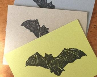 Letter Press: Flying Bat  3 1/2 X 5 folded notecard