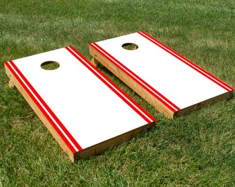 Classic Stripe Edge - White, Red Cornhole Board Set