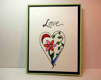 Valentine's Day Card, Greeting Card, Original Artwork, Love, Handmade