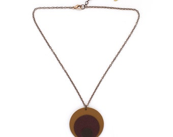 """The cosmic"" round leather necklace caramel, Burgundy and chocolate handmade"