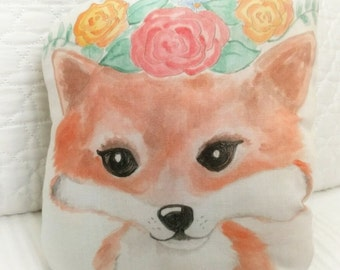 Hand painted Fox Pillow