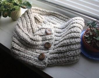 Cowl Crocheted Scarf- Oatmeal