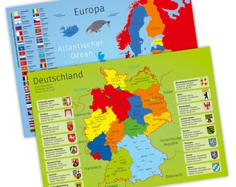 Placemat with learning effect for children - 2 in 1 - Germany European countries flags flags States cities River * nikima *.