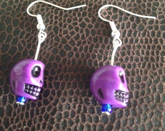 Skull Earrings in Purple - other colours available
