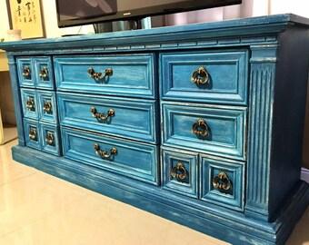 Gorgeous Blue Distressed Dresser