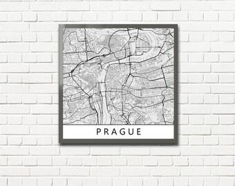 Minimalist Map Print of Prague, Czech Republic (fits square frame)