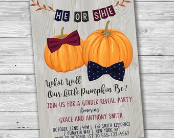He Or She, What Will Our Little Pumpkin Be? Gender Reveal Invitation, Fall Pumpkin Gender Reveal, Printable Gender Reveal Invitation, Print