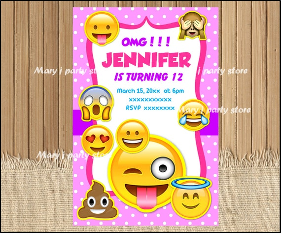 Emoji Birthday Printables Invitations Party Invites