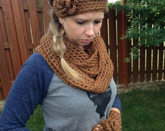 Cowl, Hat & Fingerless Glove Set-Brown Cowl, Hat, Fingerless Gloves-See Coupon Below