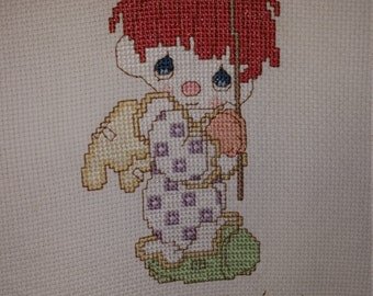 Precious Moments Clown Completed Cross Stitch