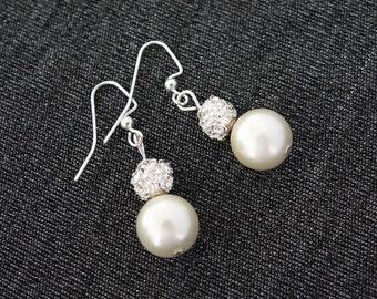 Pearl earrings, Bridesmaid earrings, Wedding drop earring,Pearl/ Rhinestone Dangle Earrings,