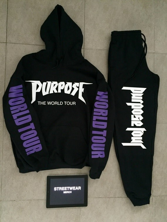 justin bieber purpose tour hoodie and sweatpants set. Black Bedroom Furniture Sets. Home Design Ideas