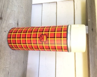 Vintage Large Thermos, Red and Yellow Plaid, Norwich, CT, USA