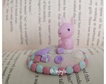 Polymer Clay, plush-themed,  Bunny Figurine