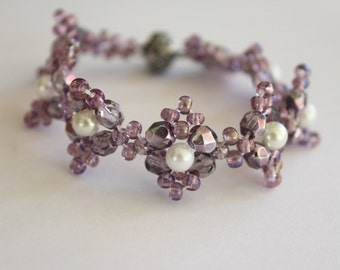White pearl  bracelet with Purple seed beads