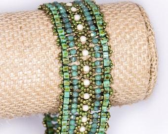 Bracelet - Green, Cream & Gold, Earthy