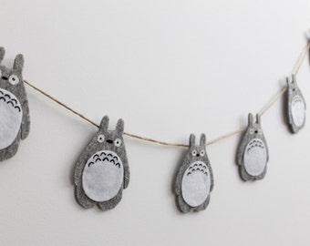 Felt Totoro, Totoro Décor, Totoro Garland, Grey Totoro, Grey Nursery Décor, Nursery Banner, Totoro Toy, Totoro Home Décor Anime decor