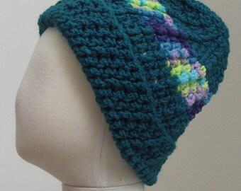 Dark teal with blue, lime, lavendar, aqua variegated striped hat M (T3-T4)