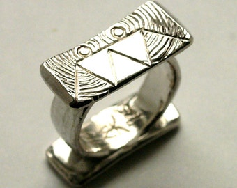 """Twin"", 925, cast sterling silver ring."