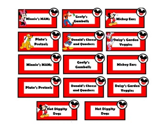Mickey Mouse Party Food Labels – *Instant Download!*