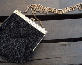 Vintage Black beaded Clutch, Elegant Gold Tone Evening Purse