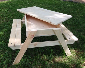 """Homemade Furniture Children's Picnic/Sandbox Table w/Removable Lid (19"""" height, suitable for ages 2-3)"""