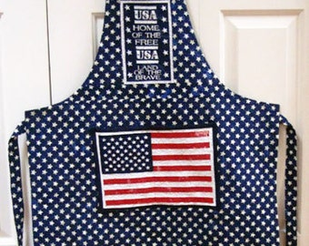 Patriotic Flag--Adult Quilted Apron