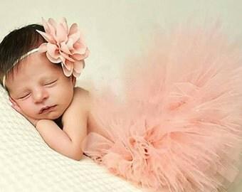 Adorable pink tutu and flower headband