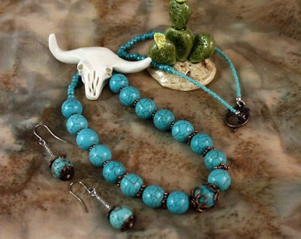 Turquoise and Copper Necklace and Earring Set