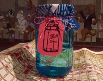 Blue Print Wide Mouth Mason Jar Fabric Covers 1 Dozen