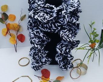 Extra - Extra thick custom ruffled handmade crochet scarf