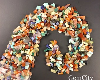 3 Lbs. of Small Natural Semi Precious Gemstone Small Rough Tumbled Stones Bulk Assorted Mix - Amethyst Crystal, Rose Quartz, Crystal Quartz