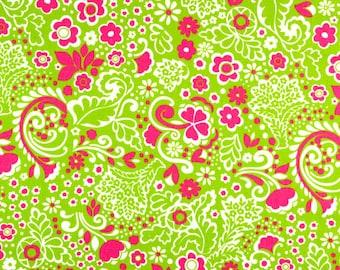 2-1/2 yards Premier Prints Jenn Chartreuse-Candy Pink