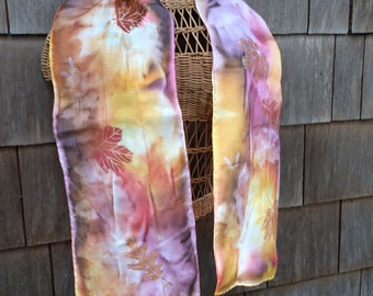 Autumn leaves silk scarf, handpainted OOAK  sun printed and painted silk scarf in colorful fall colors.  Bronze, copper and gold shine.