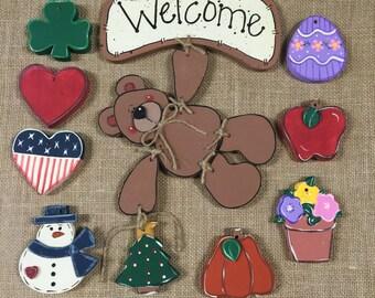 Seasonal Hanging Bear with Interchangeable Seasons