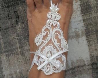 Bridal barefoot sandals White elegant