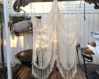 Boho cotton curtain or wall hanging in 2 panels