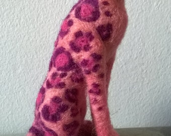 Needle felted pink cat