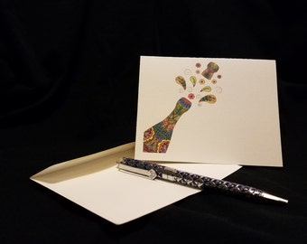Note Cards, Stationary, Hand Colored w/Pencil, Any Occasion, Blank Inside, Thank you, Set of 8 with Envelopes: Item #2016 Champagne bottle