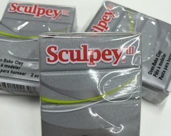 Sculpey III Silver Oven-Bake Clay - 2oz Polymer Oven-Bake Clay, New, Original Packaging, Polymer Clay supplies, Sculpey, Fimo