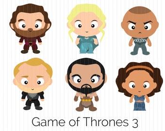Cute Funko Pop Game of Thrones Clipart -  Daario Naharis, Daenerys Targaryen , Grey Worm, Jorah Mormont, Khal Drogo, Missandei, Download PNG